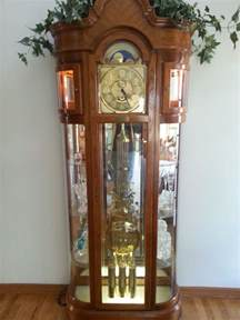 Curio Cabinet With Grandfather Clock Ridgeway Grandfather Clock Curved Glass Curio Cabinet