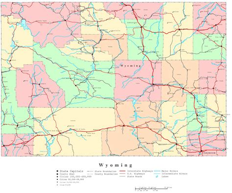 wyoming road map wyoming printable map