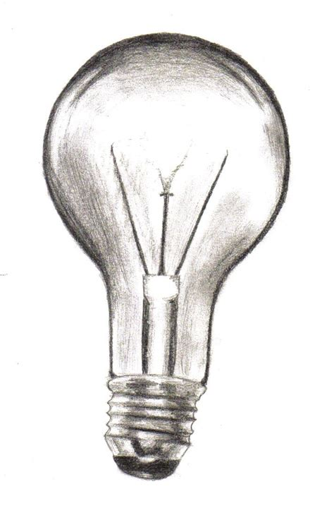 drawn light bulb sketched pencil and in color drawn