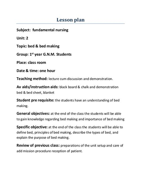 teaching plan template for nurses lesson plan