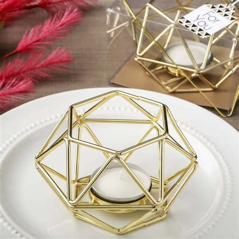 Gold Hexagon Metal Candle Holder ? FREE Rush