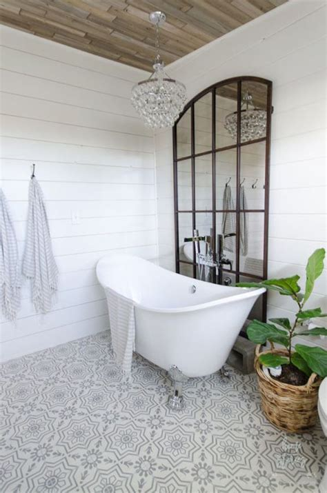 wood floor ceiling bath coming clean bathrooms pinterest 7 elements of the modern farmhousebecki owens
