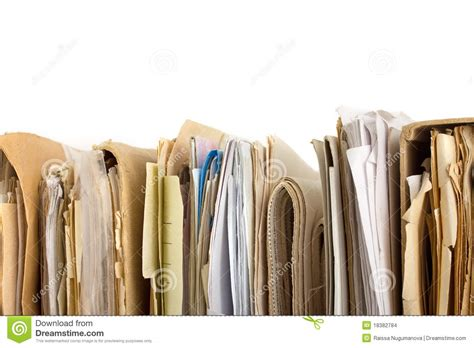 pa perfiles stack of old paper files horizontal view stock photo