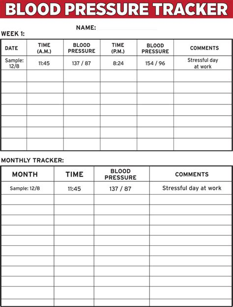blood pressure template blood pressure tracker one sheet the dr oz show
