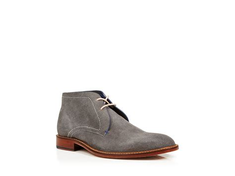 ted baker torsdi 3 suede chukka boots in gray for lyst