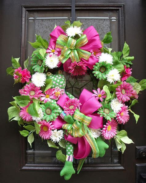 spring wreaths for door easter wreath spring wreath sock frog wreath door wreath