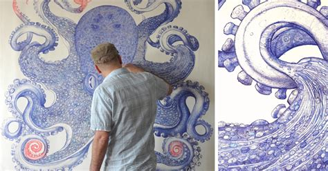 artist spends  year   discarded ballpoint pens