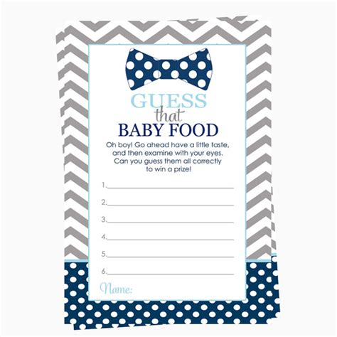 Baby Food Guessing Template bow tie baby shower guessing guess the jar food