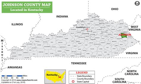 kentucky map johnson county johnson county map kentucky