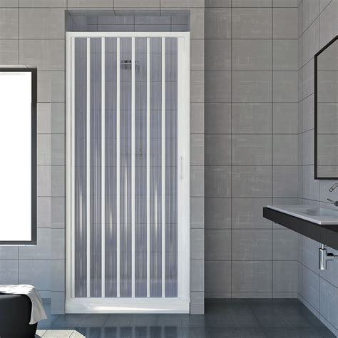 Plastic Folding Shower Doors Shower Enclosure Walk In Plastic Pvc Folding Doors Panel Side Opening Ebay