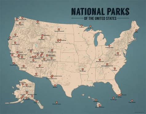 us national parks map us national parks map 11x14 print