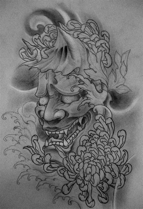 japanese mask tattoo design pin by th 224 nh flash on sketch janpanese