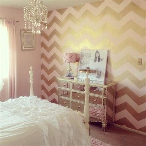 chevron pattern accent wall a blush and gold diy stenciled accent wall using the