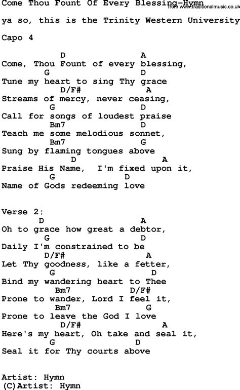 Come Thou Fount Of Every Blessing Guitar Chords