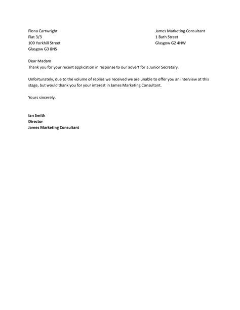 Employment Letter Rejection Best Photos Of Rejection Letter Sle Offer