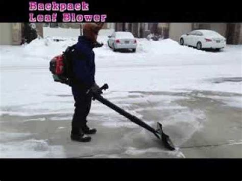 air jet shovel attached  backpack leaf blower snow removal youtube