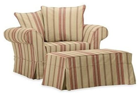 pottery barn chair and a half slipcover charleston chair and a half slipcover montgomery stripe
