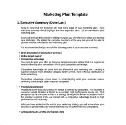Marketing Plan Template For Small Business by 15 Microsoft Word Marketing Plan Templates Free