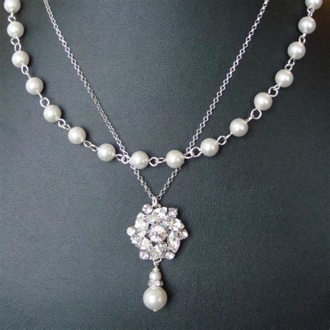 vintage style bridal necklace statement wedding jewelry