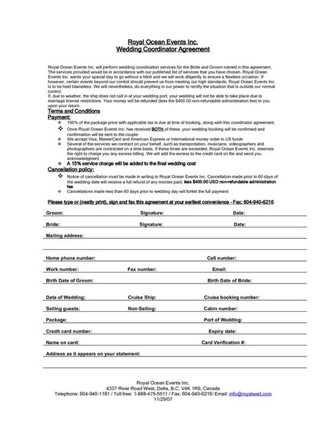 event planner agreement template wedding planner contract agreement hacks