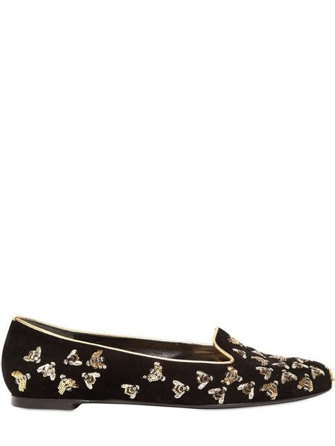 Bee Embroidery Loafers lyst mcqueen sequined bees suede slip ons in black