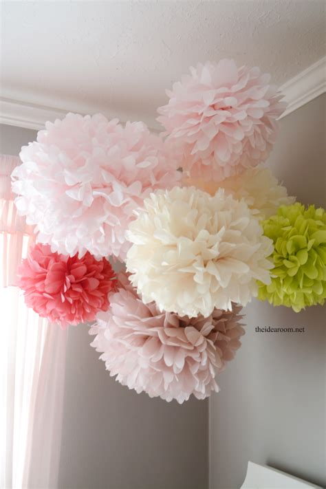 How To Make Large Paper Pom Poms - tissue paper pom poms tutorial the idea room
