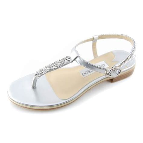 Fancy Flats For Wedding by Silver Jimmy Choo Fancy Flat Sandals Pewter Leather Flat