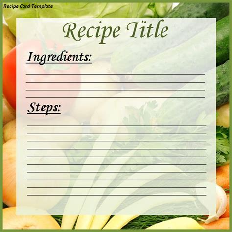 recipe card template word excel pdf