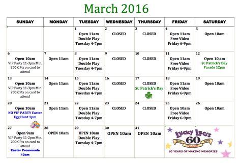 Calendar Vip Lucky Leo S Amusements Vip Calendar 2015 2016