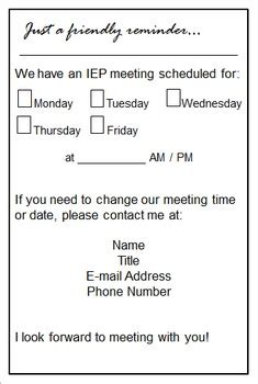 Alternate Grade Card Template For Iep Students by Free Iep Meeting Reminder For Parents Designs Tpt