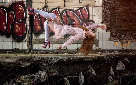 women model long hair redhead women outdoors ruin