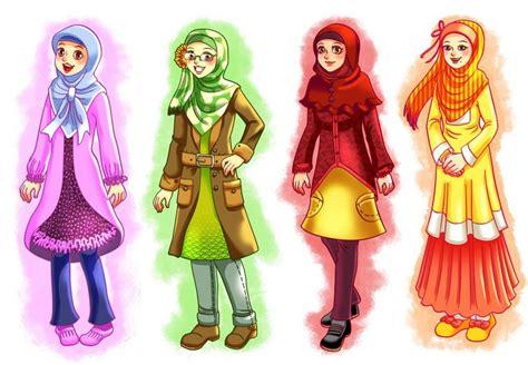 anime hijab gaul gambar kartun muslimah daunbuah com