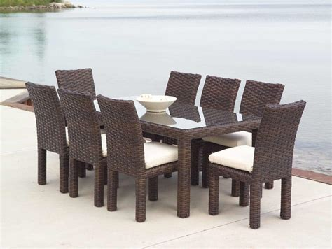 Dining Room Brown Rattan With Glass Table Wicker Chairs