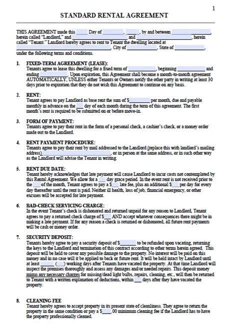 printable sle residential lease agreement template form