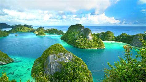 island sea ocean wallpaper background raja ampat west