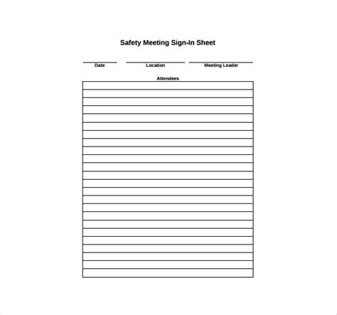 Safety Meeting Sign In Sheet Template by 18 Sign In Sheet Templates Free Sle Exle Format