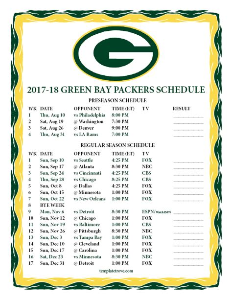 printable 2017 2018 green bay packers schedule