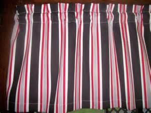 Black white red gray striped stripes fabric topper kitchen curtain