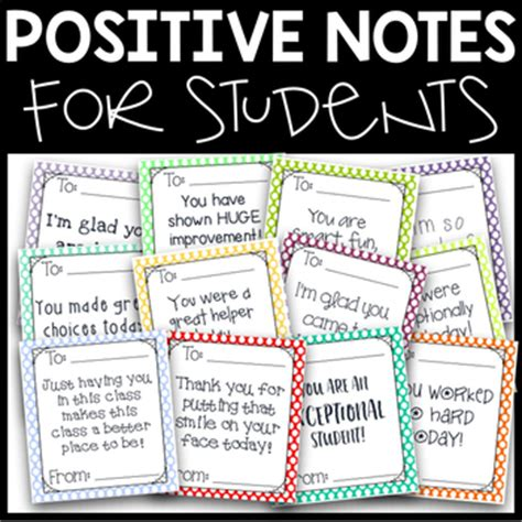 positive notes for students freebie! by third in hollywood