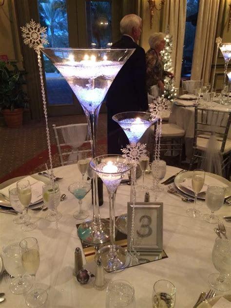 martini glass centerpieces for a winter wedding   wedding