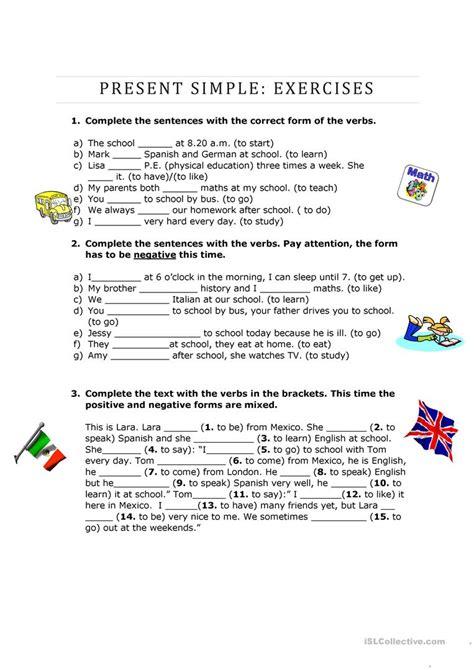 printable worksheets present simple and continuous present simple continuous exercises worksheet free esl