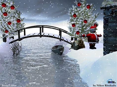 wallpaper christmas snow 3d wallpaper snow winter river boat bridge new year