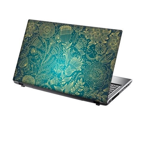laptop skin laptop skin vinyl sticker gold and turquoise floral