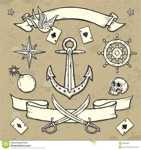 tattoo old school elementos grupo de elementos do tatuagem da velha escola imagens de
