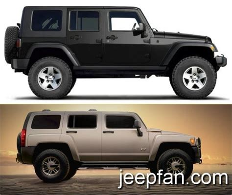 Jeep That Looks Like A Hummer Jeep Wrangler Jk Vs Hummer H3 Jeepfan