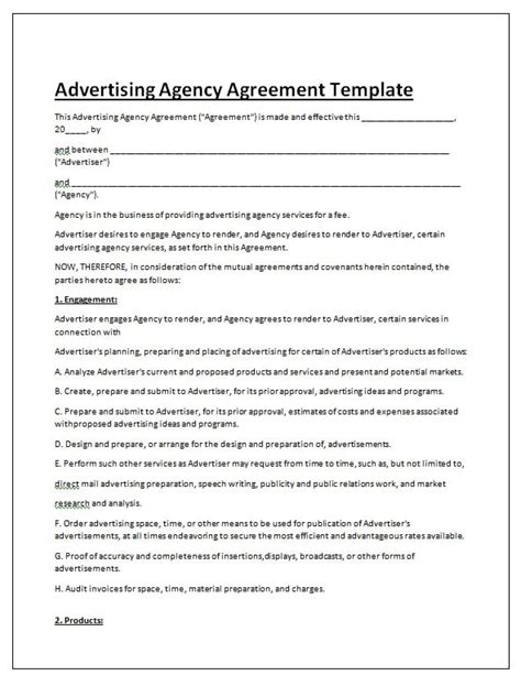 Free Contract Templates Word Pdf Agreements Part 6 Ad Contract Template