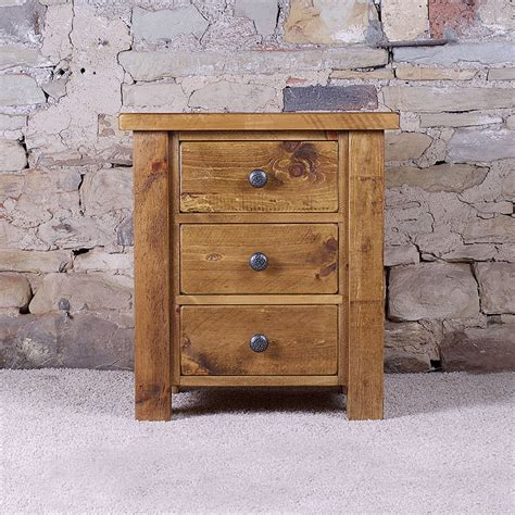 solid wood desk with drawers solid wood chunky three drawer bedside table by h f