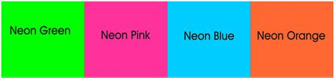 neon color codes what is the word for bright colors such as green