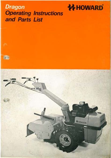 howard dragon rotavator operators manual  parts list