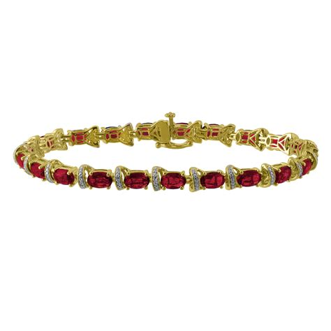 Simulated Diamond and Lab created Ruby Yellow Gold Over Sterling Silver Bracelet